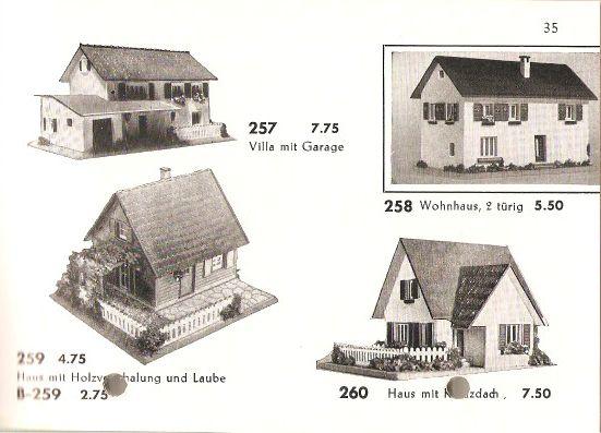 Faller Modelle 257 und 258, Katalog 1956
