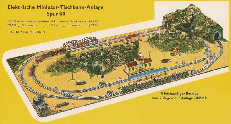 Elektrische Miniatur-Tischbahn-Anlage Spur 00 Anlage 700/210