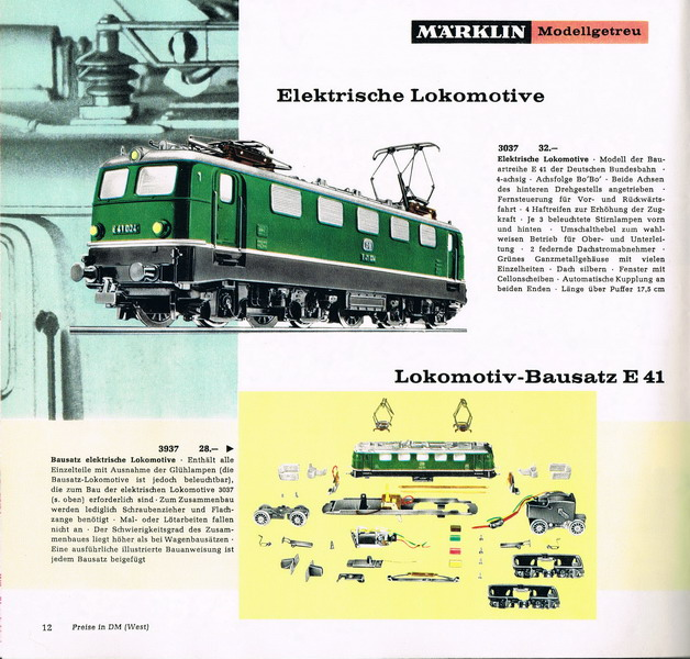 Märklin Lokomotiv-Bausatz E 41, Märklin Katalog 1964/65