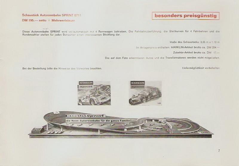 Märklin Schaustück Autorennbahn Sprint 0711, 1968