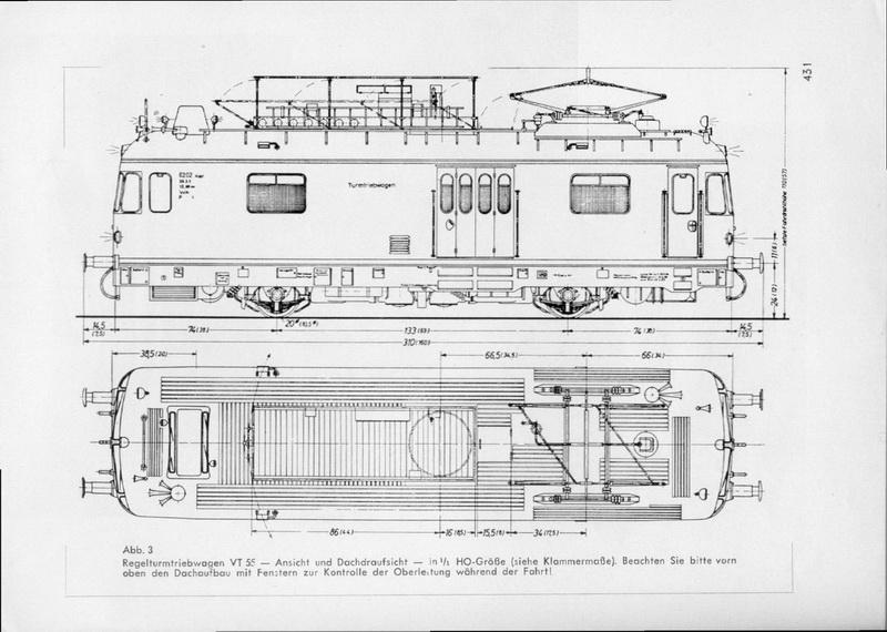 Bauplan Regel-Turmtriebwagen VT 55
