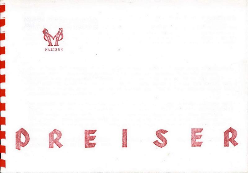 Deckblatt Preiser Katalog 1956