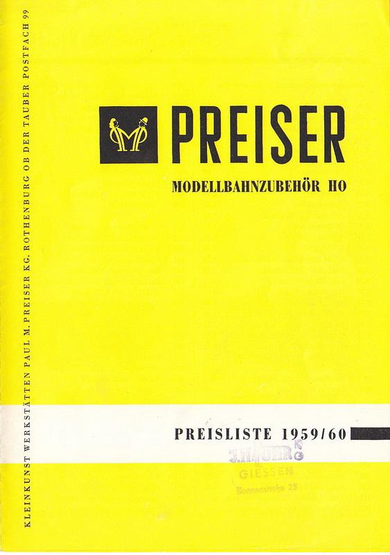 Preiser Preisliste 1959