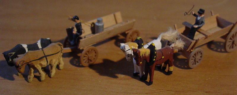 Preiser Bauernwagen zwei Ochsen, Bauernwagen zwei Pferden