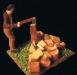 Preiser Arbeiter Kleinholz machend 414