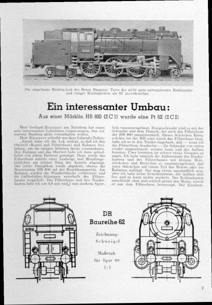 Umbau DR Baureihe BR 62